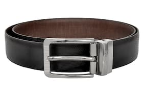 9bcf6e345c7 Allen Cooper Men Black and Brown Italian Leather Belt with classic  reversible buckle