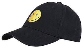 Ambitieux Black Smiley Cap For Men And Women