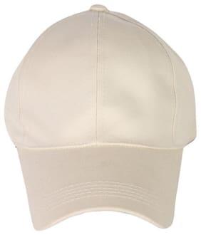 Ambitieux Simple White Plain Cap For Men And Women