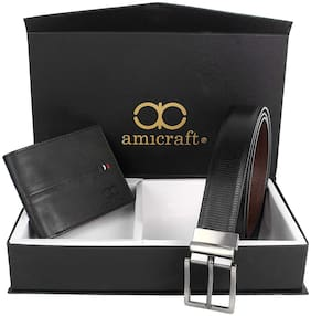 Amicraft Belt & Wallet Combo Gift Set For Men