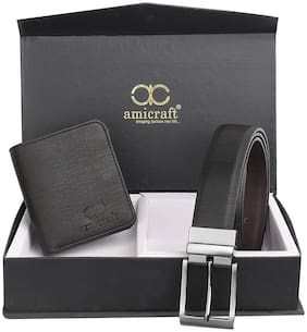 Amicraft Belt & Wallet Gift Set For Men Combo