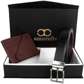 Amicraft Boy's Wallet & Belt Gift Set Combo