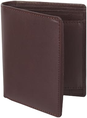 Amicraft Brown Long Genuine Leather Men's Wallet 6 Card Slot