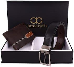 Amicraft Men's Belt & Wallet Gift Set Combo