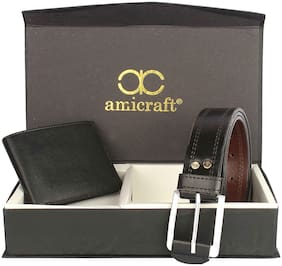 Amicraft Men's Combo Pack Of Wallet & Belt