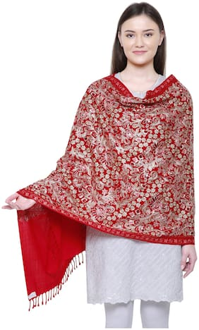 Anekaant Women Wool Shawl - Red