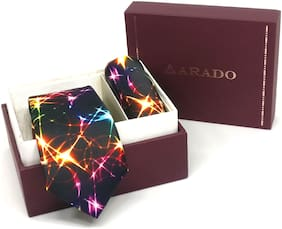Arado Multi-color Tie- Pocket Square Combo Set