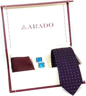 Arado Purple Tie- Pocket Square- Cufflinks Combo Set