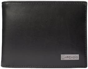 ARCADIO - BLACK MAGIC Bifold Plain Black Leather Wallet