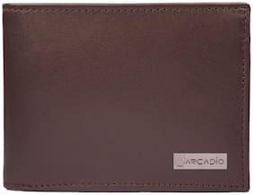 ARCADIO - BROWNIE Bifold Plain Brown Leather Wallet