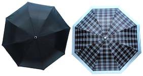 Arip Black & Grey Check Print 3 Fold Umbrella (Pack of 2)