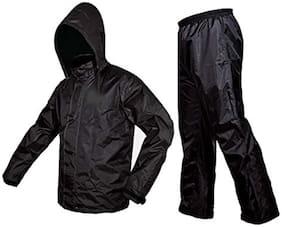 Arisha Sepia Premium Plain Unisex Rain Coat-Black