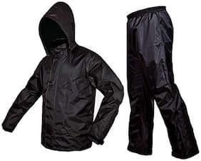 Aristocrat Trandee Premium Plain Unisex Rain Coat-Black