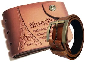 Artificial leather wallet and belt combo.