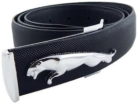 ASF New Collection of Black Leather Jaguar Design Belt with Auto Lock Buckle(silver)