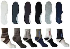 Ashirwad Unisex Cotton socks Ankle -6 pair & Loafer -6 pair (12 pair Combo)