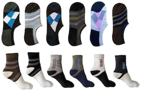 Ashirwad Unisex Cotton socks Ankle -6 pair & Pattern Loafer -6 pair (12 pair Combo)