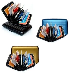 ATM Debit Credit Card Holder Aluminium Wallet Assorted Color Stylish Wallet - Set of 3