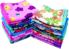 Attractive Multi Flowers Print, Multi Color, Multi Design Printed Face Hanky, Face Towels(10x10-inch_Set of 10)