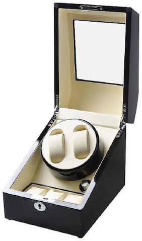 AUTOMATIC WATCH WINDRE 2+3 Fashion Daul Channel Automatic Watch Winder,5 Modes 3 Box Case Locks Black Wooden Watch Winder