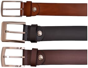 AYW Multi-Coloured Leather Men Belts Pack Of (3)