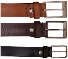 AYW Men Multi Leather Belt (Size: Free size , Pack of 3 )