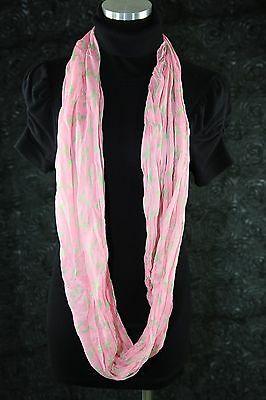 B27 Pink Green Cross Print Lightweight Crinkled Long Infinity Scarf