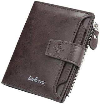 Baellerry Unisex Designer purse with 1 Zipper Coin Pocket_Brown