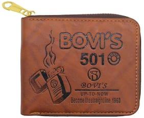Bagzar Bovi's Men's Wallet Premium Stylish PU Leather Round Gold Zipper Brown Men Wallet (Brown Dark 501)