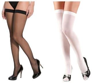 c54507c64 Bahucharaji Creation Black And White Color Nylon Stocking For Women s(pack  ...