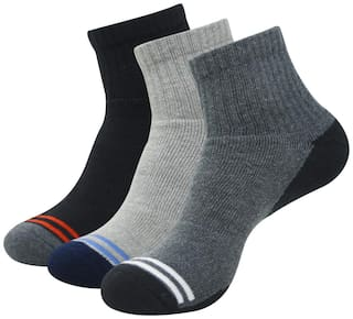 Balenzia Black Cotton Ankle length socks ( Pack of 3 )