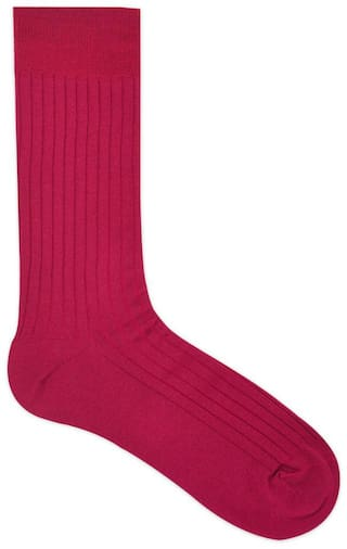 Balenzia Red Cotton Crew length socks ( Pack of 1 )