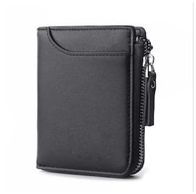 FASHLOOK Men Black Leather Zip Around Wallet ( Pack of 1 )