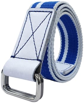 Baluchi Blue And White Cotton Canvas Men Belt With Double D-Ring Buckle