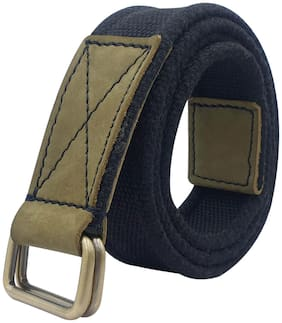 Baluchi The Black Cotton Canvas Unisex Belt With Double D-Ring Buckle