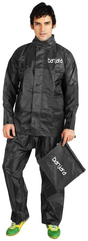 Banjara Black Polyester 3 Fold Premium Office Raincoat