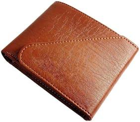 Battlestar Men Tan Leather Tri Fold Wallet ( Pack of 1 )