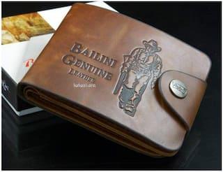 FASHLOOK Men Tan Leather Bi-Fold Wallet ( Pack of 1 )