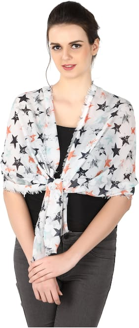 Belleziya Women Polyester Scarves & Stoles - Blue & White