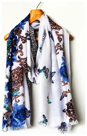 Belleziya Women Polyester Scarves & Stoles - White & Blue