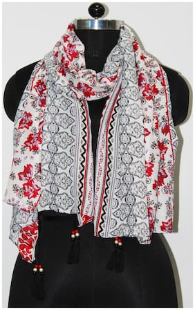 Belleziya Women Polyester Scarves & Stoles - Red & White