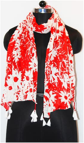 Belleziya Women Viscose Scarves & Stoles - Red & White