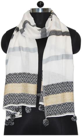 Belleziya Women Viscose Scarves & Stoles - White & Grey