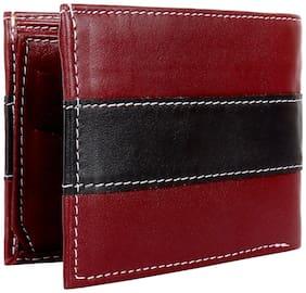 BeZelus Men Maroon & Black Leather Bi-Fold Wallet ( Pack of 1 )