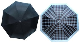 Bizarro Black & Grey Check Print 3 Fold Umbrella (Pack of 2)