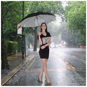 Black 2 fold Auto Open Nylon Umbrella