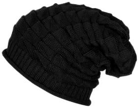 Black Slouchy woolen Long Beanie Cap for Winter skull head Unisex Cap