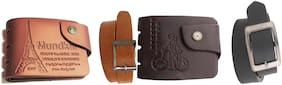 Black & Tan mens wallet and belt combo pack of 4