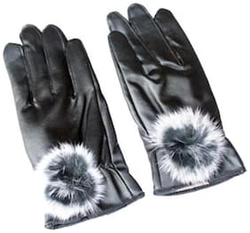 Black Winter Artificial Leather Gloves For Women (Set Of 5)