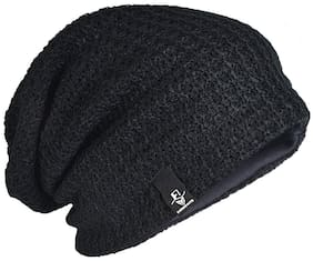 Slouchy Black woolen Long Beanie Cap for Winter